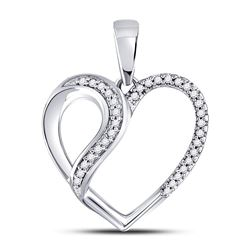 1/10 CTW Round Diamond Heart Fashion Pendant 10kt White Gold - REF-11M9A