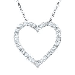 1/4 CTW Round Diamond Heart Pendant 10kt White Gold - REF-16R8H