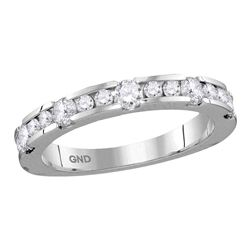 3/4 CTW Machine-set Round Diamond Wedding Ring 14kt White Gold - REF-71H9W