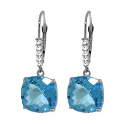 Genuine 7.35 ctw Blue Topaz & Diamond Earrings 14KT White Gold - REF-57H3X