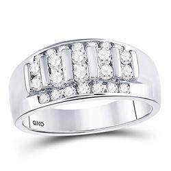 1 CTW Mens Round Diamond Wedding Channel Set Ring 14kt White Gold - REF-81X3T