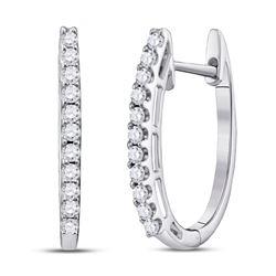 1/4 CTW Round Diamond Hoop Earrings 14kt White Gold - REF-30H3W
