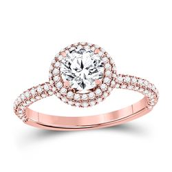 1 & 5/8 CTW Round Diamond Solitaire Bridal Wedding Engagement Ring 14kt Rose Gold - REF-479H9W