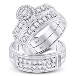 1 CTW His & Hers Round Diamond Solitaire Matching Bridal Wedding Ring 14kt White Gold - REF-111W3F