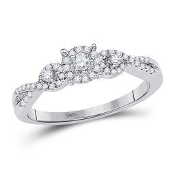 1/4 CTW Round Diamond Solitaire Halo Twist Bridal Wedding Engagement Ring 10kt White Gold - REF-21X5