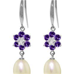 Genuine 9.01 ctw Amethyst, Pearl & Diamond Earrings 14KT White Gold - REF-44M3T