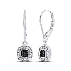 1/4 CTW Round Black Color Enhanced Diamond Square Cluster Dangle Earrings 14kt White Gold - REF-24X3
