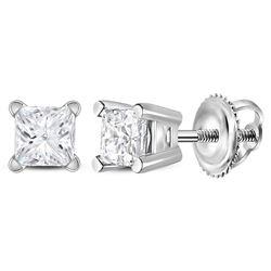 3/8 CTW Unisex Princess Diamond Solitaire Stud Earrings 14kt White Gold - REF-32H3W
