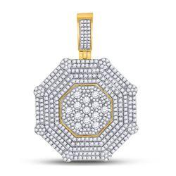 3 & 7/8 CTW Mens Round Diamond Octagon Cluster Charm Pendant 10kt Yellow Gold - REF-179X9T