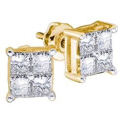 1/4 CTW Princess Diamond Square Earrings 14kt Yellow Gold - REF-21N3Y