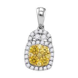 3/4 CTW Round Yellow Diamond Cluster Pendant 14kt White Gold - REF-60F3M