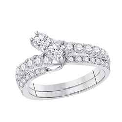 3/4 CTW Round Diamond 2-stone Bridal Wedding Engagement Ring 14kt White Gold - REF-69F3M