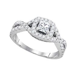 1 CTW Princess Diamond Solitaire Twist Bridal Wedding Engagement Ring 14kt White Gold - REF-113Y9X