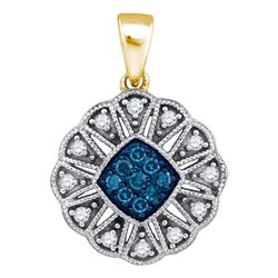 1/5 CTW Round Blue Color Enhanced Diamond Fashion Pendant 10kt Yellow Gold - REF-14X4T