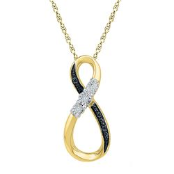 0.03 CTW Round Black Color Enhanced Diamond Vertical Infinity Pendant 10kt Yellow Gold - REF-9N6Y