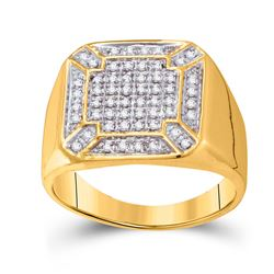 1/3 CTW Mens Round Diamond Square Cluster Ring 10kt Yellow Gold - REF-30X3T