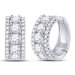 1 CTW Round Diamond 3-Row Huggie Earrings 14kt White Gold - REF-90R3H