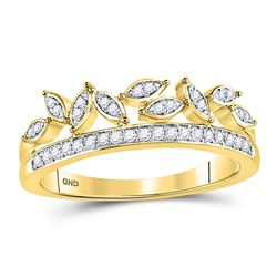 1/6 CTW Round Diamond Floral Leaf Fashion Ring 10kt Yellow Gold - REF-14F4M