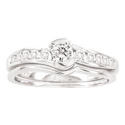 1/2 CTW Round Diamond Bridal Wedding Engagement Ring 14kt White Gold - REF-60R3H