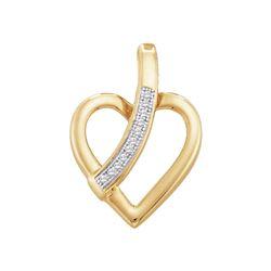 0.03 CTW Round Diamond Heart Pendant 10kt Yellow Gold - REF-7K5R