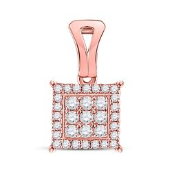 1/4 CTW Round Diamond Square Cluster Pendant 14kt Rose Gold - REF-20A3N