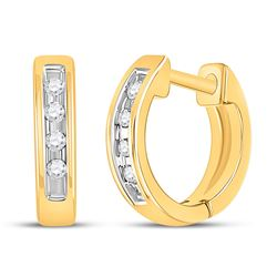 1/20 CTW Round Diamond Single Row Huggie Earrings 10kt Yellow Gold - REF-9M6A