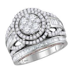 2 CTW Round Diamond Bridal Wedding Engagement Ring 14kt Two-tone Gold - REF-143N9Y