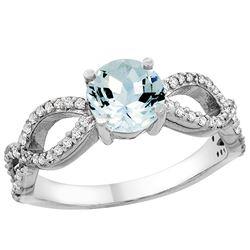 1 CTW Aquamarine & Diamond Ring 14K White Gold - REF-52V2R