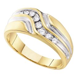 1/4 CTW Mens Round Diamond Wedding Ring 10kt Yellow Gold - REF-27N5Y