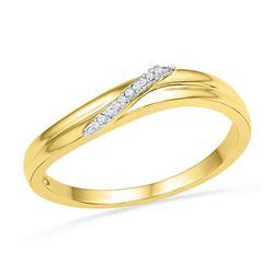 0.03 CTW Round Diamond Simple Single Row Ring 10kt Yellow Gold - REF-9F3M