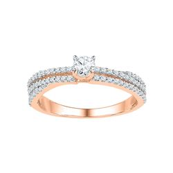 1/2 CTW Round Diamond Solitaire Bridal Wedding Engagement Ring 10kt Rose Gold - REF-35X9T