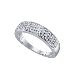 1/4 CTW Mens Round Pave-set Diamond Wedding Ring 10kt White Gold - REF-20F3M