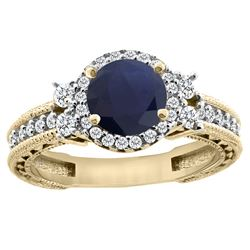 1.46 CTW Blue Sapphire & Diamond Ring 14K Yellow Gold - REF-177R3H