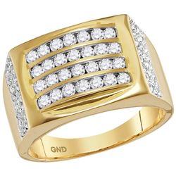 1 & 1/3 CTW Mens Round Diamond 4 Row Rectangle Fashion Ring 14kt Yellow Gold - REF-105W3F