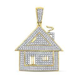 3/4 CTW Mens Round Diamond Trap House Charm Pendant 10kt Yellow Gold - REF-54N3Y