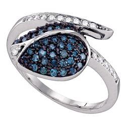 1/2 CTW Blue Color Enhanced Diamond Classy Tulip Flower Cluster Ring 10kt White Gold - REF-24Y3X
