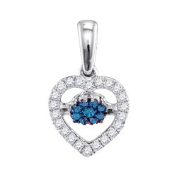 1/6 CTW Round Blue Color Enhanced Diamond Moving Twinkle Heart Pendant 10kt White Gold - REF-16A8N