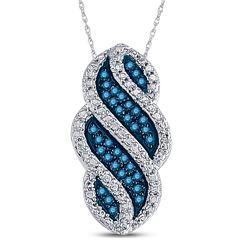 1/10 CTW Round Blue Color Enhanced Diamond Striped Vertical Pendant 10kt White Gold - REF-11F9M