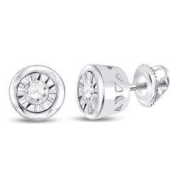 1/10 CTW Round Diamond Solitaire Stud Earrings 10kt White Gold - REF-11W9F