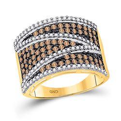 1 CTW Round Brown Diamond Stripe Ring 10kt Yellow Gold - REF-39A3N
