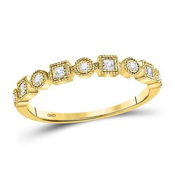 1/8 CTW Round Diamond Square Dot Stackable Ring 10kt Yellow Gold - REF-15Y5X