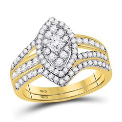 1 CTW Princess Diamond Oval Bridal Wedding Engagement Ring 14kt Yellow Gold - REF-83X9T