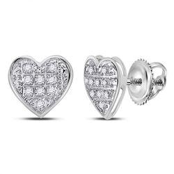 1/20 CTW Round Diamond Heart Cluster Stud Earrings 10kt White Gold - REF-6T6K