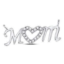1/10 CTW Round Diamond Mom Mother Heart Pendant 10kt White Gold - REF-11K9R