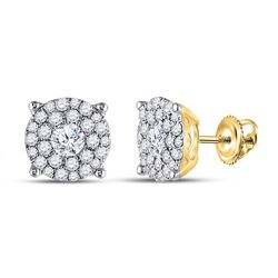 1 & 3/8 CTW Round Diamond Halo Earrings 14kt Yellow Gold - REF-143H9W