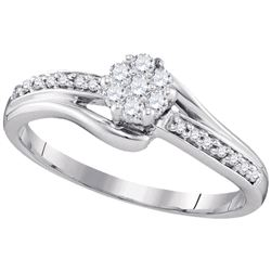 1/5 CTW Round Diamond Cluster Ring 10kt White Gold - REF-19A2N