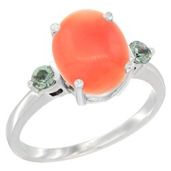 0.24 CTW Green Sapphire & Natural Coral Ring 10K White Gold - REF-23W9F