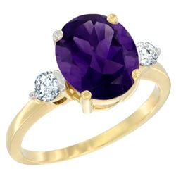 2.60 CTW Amethyst & Diamond Ring 10K Yellow Gold - REF-62H2M