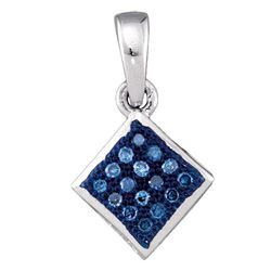 1/20 CTW Round Blue Color Enhanced Diamond Square Pendant 10kt White Gold - REF-4H8W