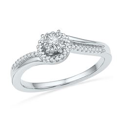 1/6 CTW Round Diamond Solitaire Halo Bridal Wedding Engagement Ring 10kt White Gold - REF-19R2H